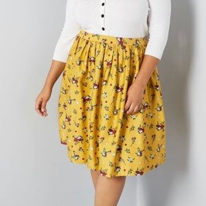 ModCloth A-Line Yellow Bird Print Skirt Size UK18